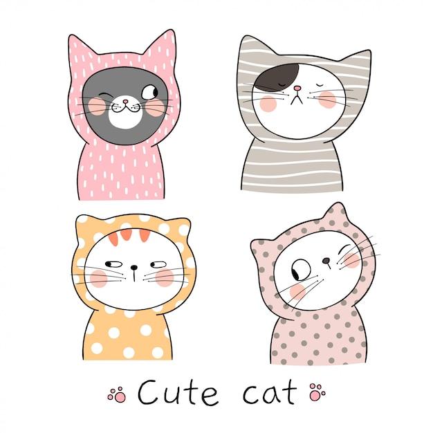Dibujar Retrato Lindo Gato Color Pastel Descargar Vectores Premium