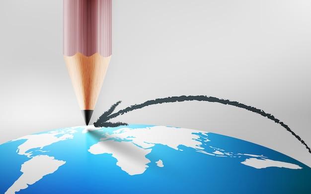 Dibuje con lápiz una línea de flecha y señale el mapa mundial del planeta tierra.planificación y concepto objetivo Vector Premium