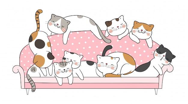 Dibuje el sueño del gato del vector en el sofá rosado. Vector Premium
