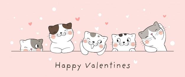 Dibuje la tarjeta del gato con el pequeño corazón de san valentín. Vector Premium