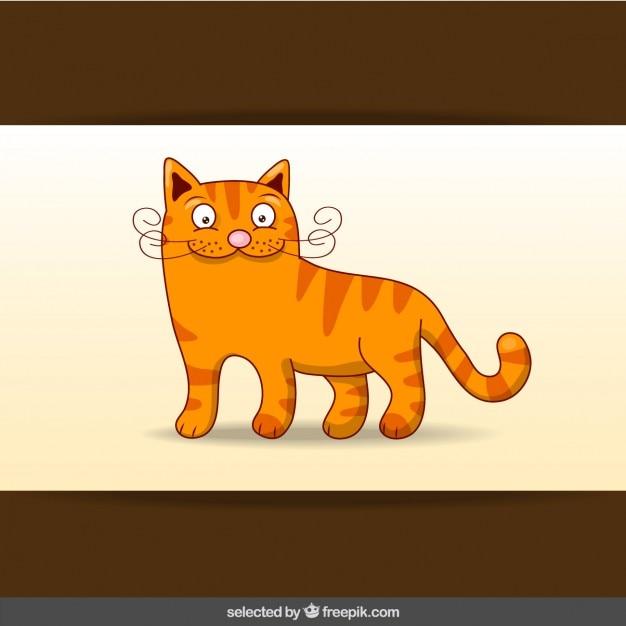 Dibujo animado del gato anaranjado feliz descargar