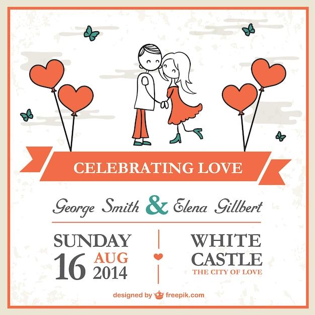 Dibujo animado plantilla de la tarjeta de la boda pareja Vector Gratis