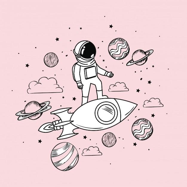 Dibujo de astronauta con cohete y planetas. vector gratuito
