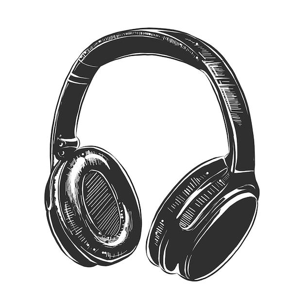 Dibujo de auriculares en monocromo. Vector Premium