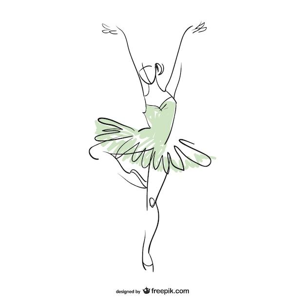 ca43be11d8b1f Dibujo de bailarina en dos colores