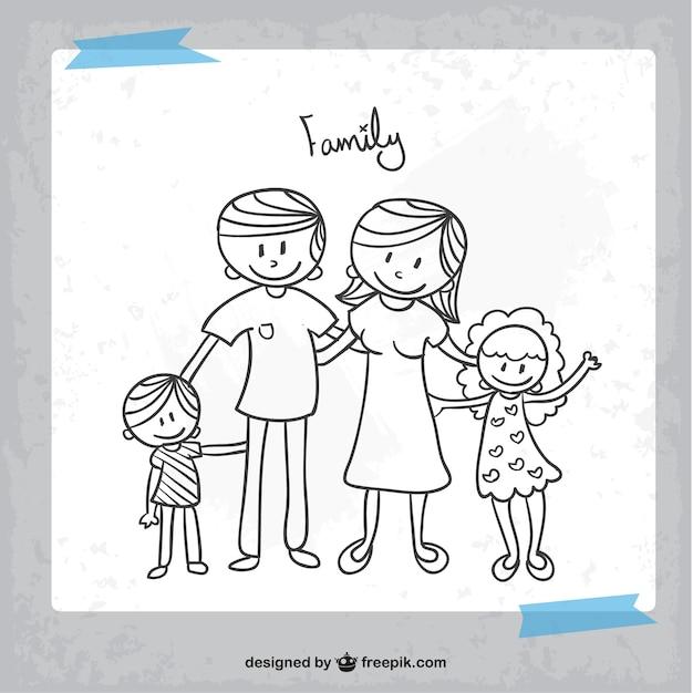 Dibujo en blanco y negro de familia | Descargar Vectores gratis