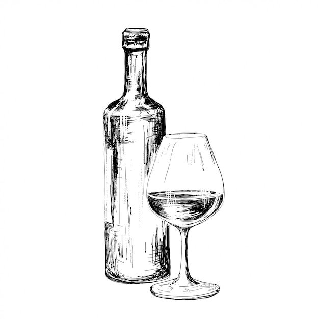 Dibujo de botella de vino. Vector Premium