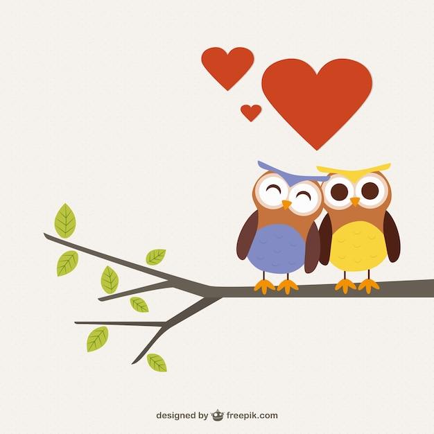 Dibujo De Búhos Enamorados Descargar Vectores Gratis