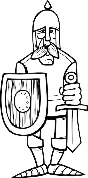 Dibujo De Caballero En Armadura Para Colorear Vector Premium
