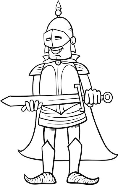 Dibujo De Caballero Con Espada Para Colorear Vector Premium