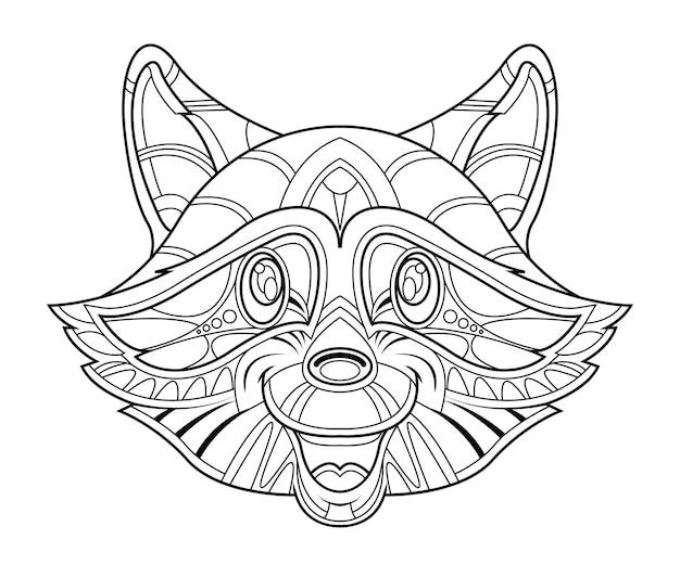 Dibujo de cabeza de mapache a mano para colorear. | Descargar ...