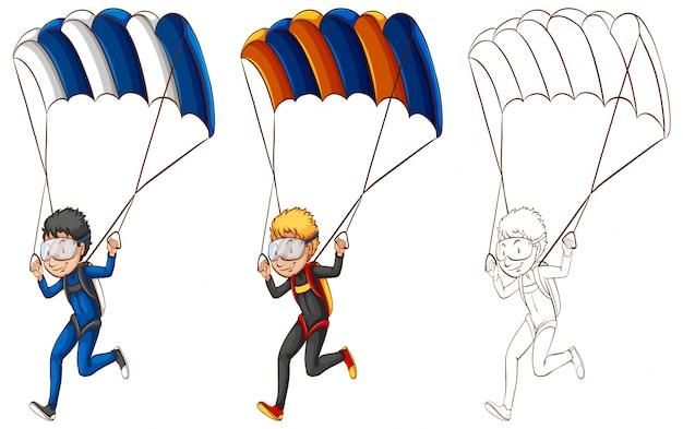 Dibujo de carácter para el hombre haciendo paracaídas ilustración ...