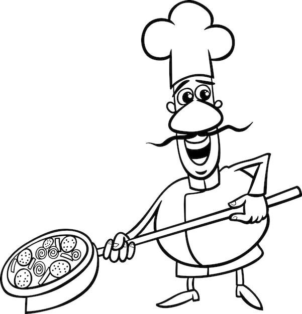 Dibujo De Cocinero Italiano Para Colorear Descargar Vectores Premium