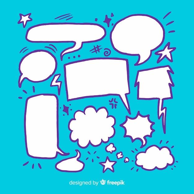 Dibujo con colección de burbujas de discurso en blanco vector gratuito