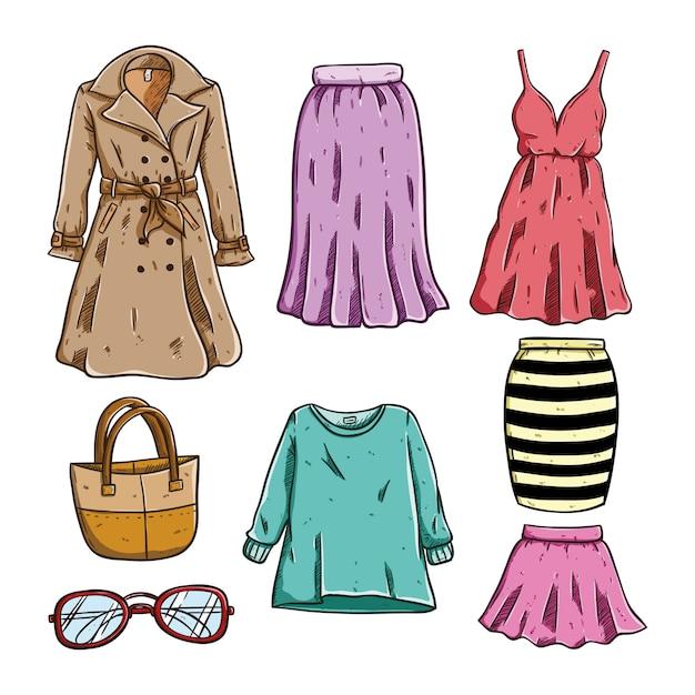 3e49ffc45797 Dibujo coloreado de ropa y accesorios de mujer sobre fondo blanco |  Descargar Vectores Premium