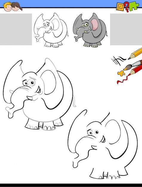 Dibujo y colorear hoja de trabajo con elefante | Descargar Vectores ...