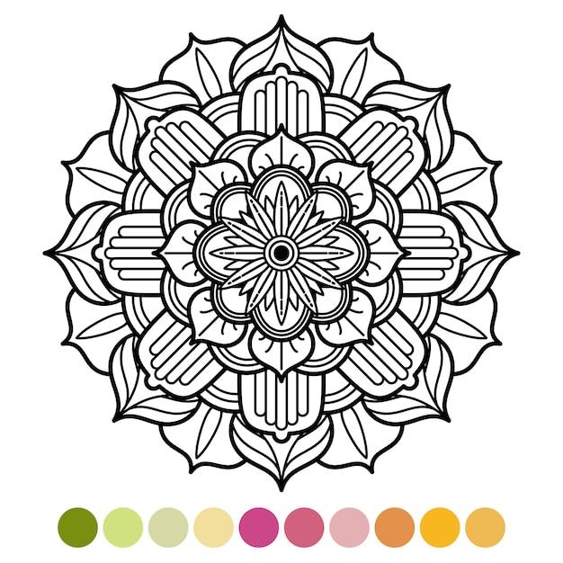 Dibujo Para Colorear Mandala Antiestrés Con Muestra De