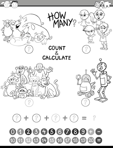 Dibujo Para Colorear De Niños De Matemática Vector Premium