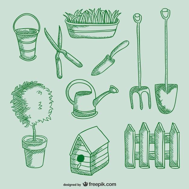 Dibujo de herramientas de jardiner a descargar vectores for Objetos de jardineria