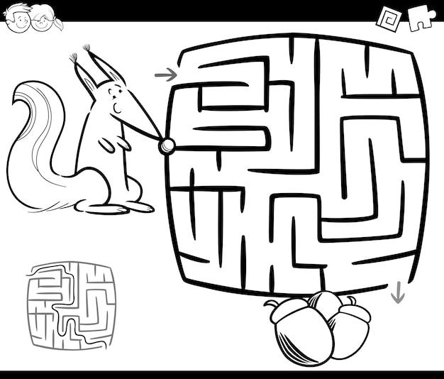 Dibujo de laberinto con ardilla para colorear | Descargar Vectores ...