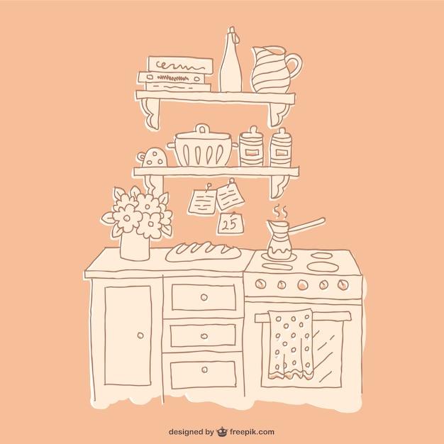 Dibujo de muebles de cocina descargar vectores gratis for Programas de dibujo de cocinas gratis