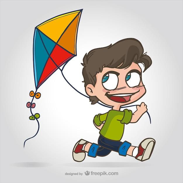 Dibujo de niño con cometa | Descargar Vectores gratis