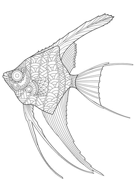 Dibujo de pez ángel dibujado a mano para colorear | Descargar ...