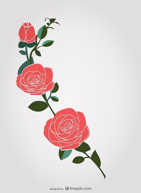 Dibujo de rosas rojas | Descargar Vectores gratis