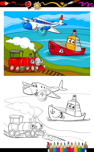 Dibujo De Dibujos Animados Avión Tren Barco Para Colorear