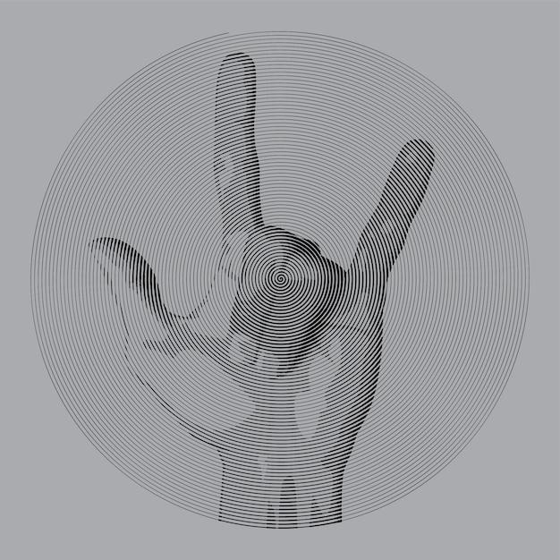 Dibujo espiral estilo metal dedo. Vector Premium