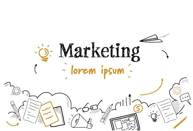Dibujo de estrategia de marketing exitoso doodle aislado Vector Premium