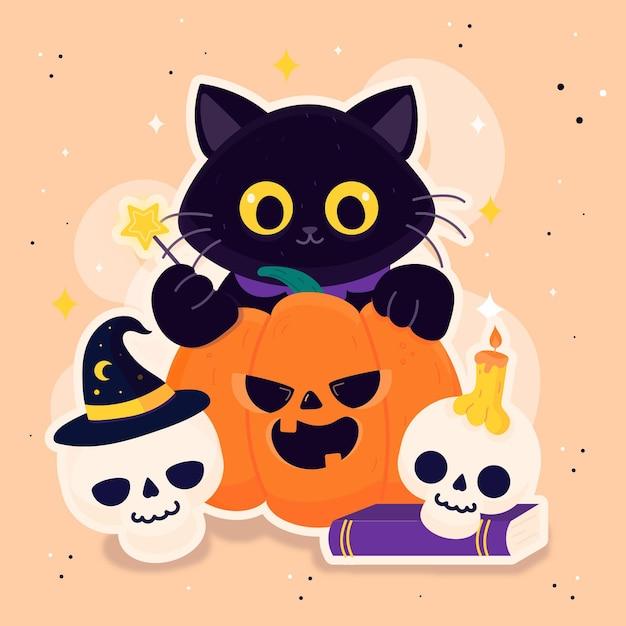 Dibujo de gato festival de halloween vector gratuito
