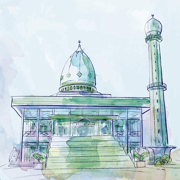 Dibujo islámico vector mezquita acuarela pincel bosquejo Vector Premium