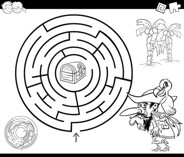 Dibujo de laberinto con pirata para colorear | Descargar Vectores ...