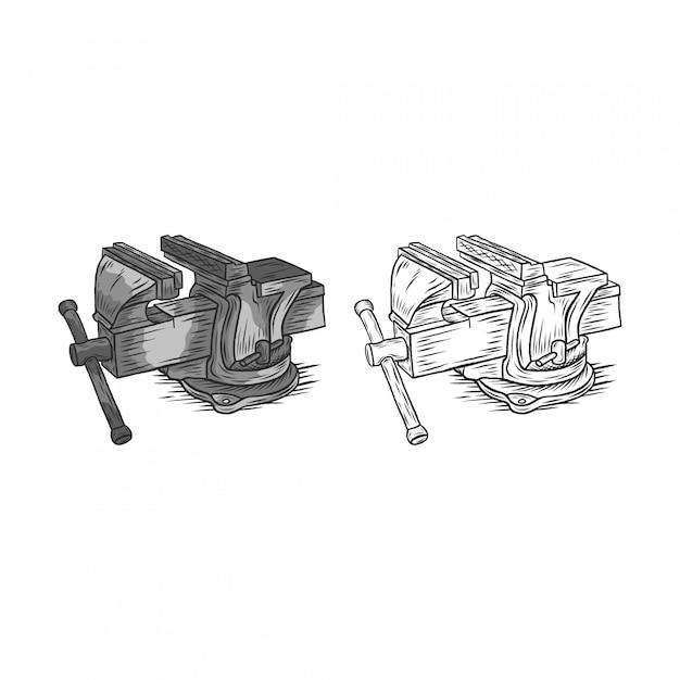 Dibujo de mano de banco vice vintage Vector Premium