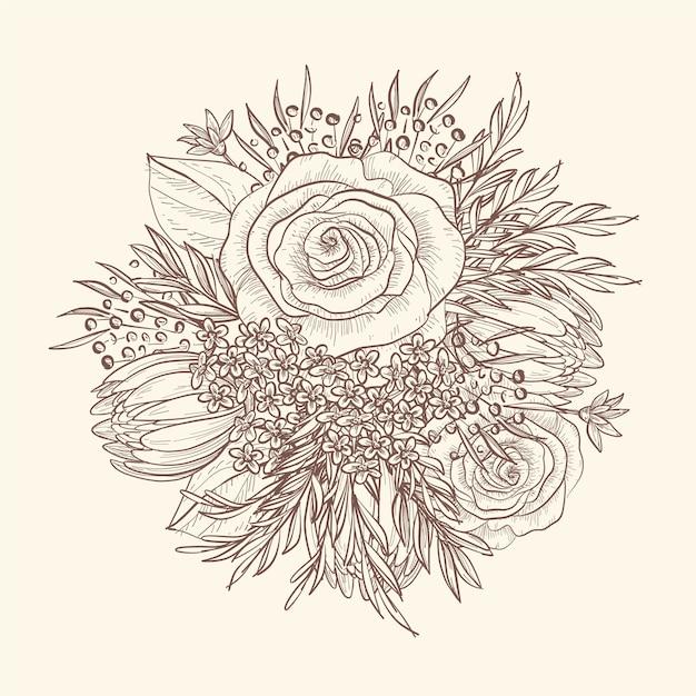 Dibujo a mano de bouquet floral vintage vector gratuito
