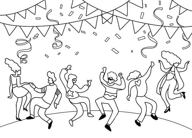 Dibujo a mano doodle ilustración vectorial de gente divertida fiesta, diseño plano Vector Premium
