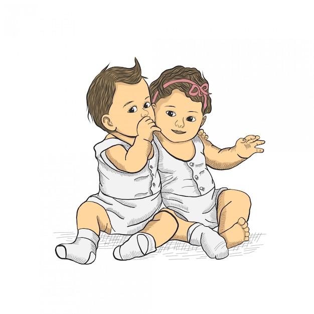 Dibujo de mano dos bebé sentado Vector Premium