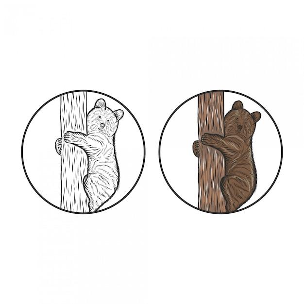 Dibujo de mano de escalada de oso grabado Vector Premium