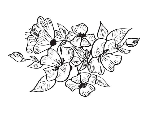 Dibujo a mano vector y bosquejo rosa canina flor. Vector Premium
