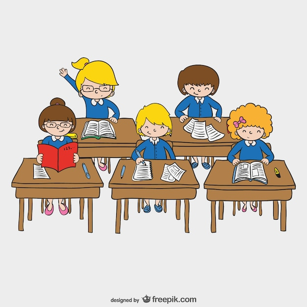 dibujo de niños en la escuela descargar vectores gratis