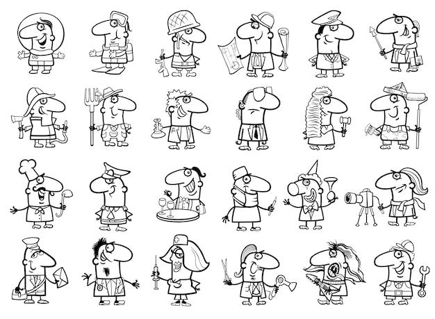 Dibujo De Ocupaciones Para Colorear Vector Premium