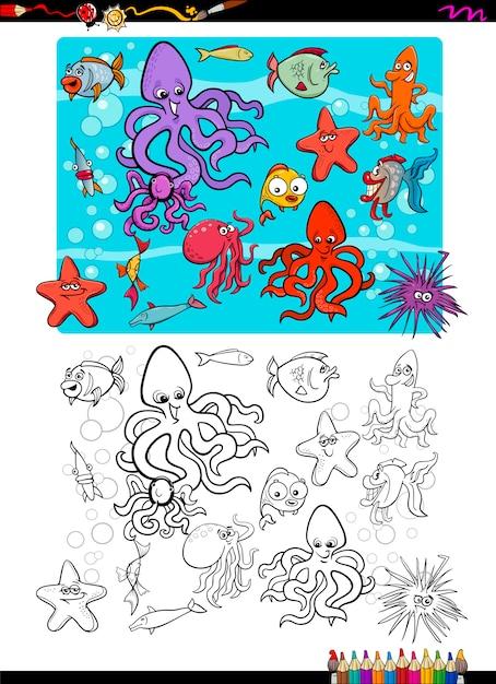 Dibujo para colorear grupo de vida marina | Descargar Vectores Premium