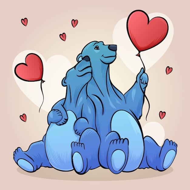 Dibujo con pareja de animales para el día de san valentín vector gratuito