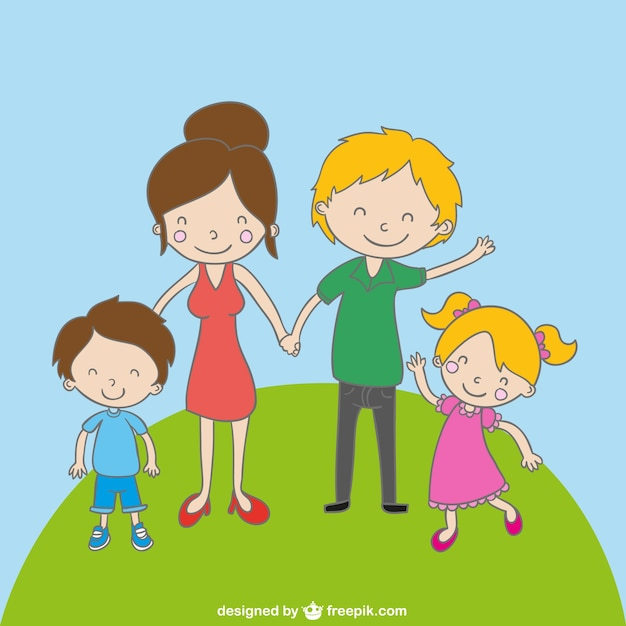 Dibujo Simpatico De Familia Descargar Vectores Gratis