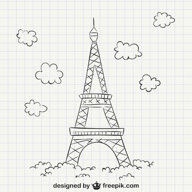 Dibujo De La Torre Eiffel Vector Premium