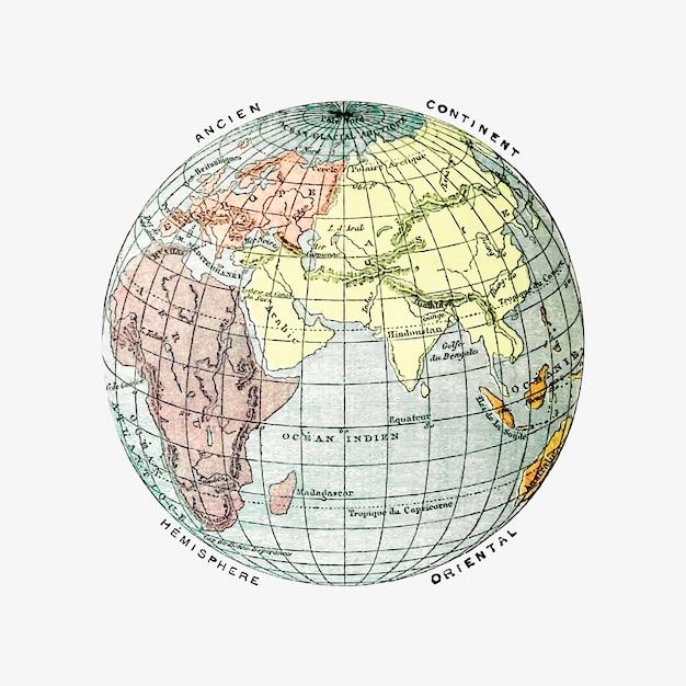 El dibujo vintage del globo. vector gratuito