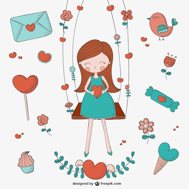 Dibujos de amor vector gratuito