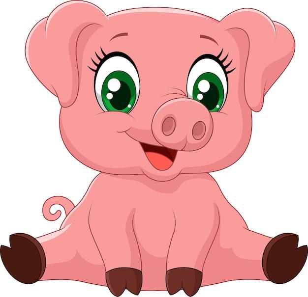 Dibujos Animados Adorable Bebé Cerdo Descargar Vectores Premium