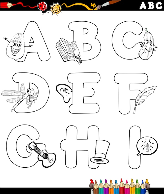 Dibujos animados alfabeto para colorear página | Descargar Vectores ...